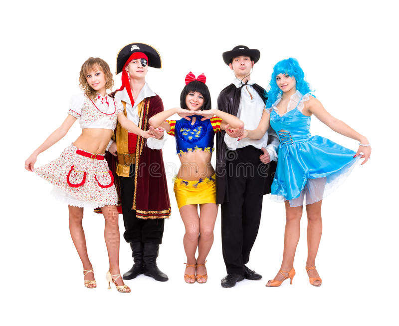 Tancerze w karnawałowych kostiumach obrazy stock