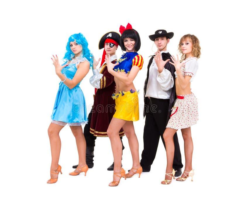 Tancerze w karnawałowych kostiumach zdjęcie royalty free