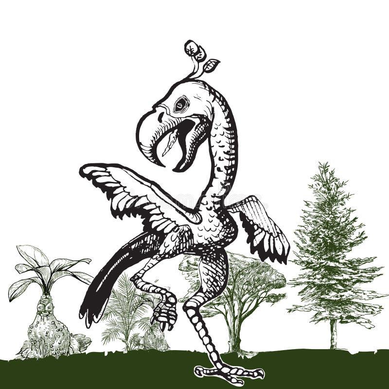 Tanczący Dino ptaka - ręka rysujący wektor ilustracji
