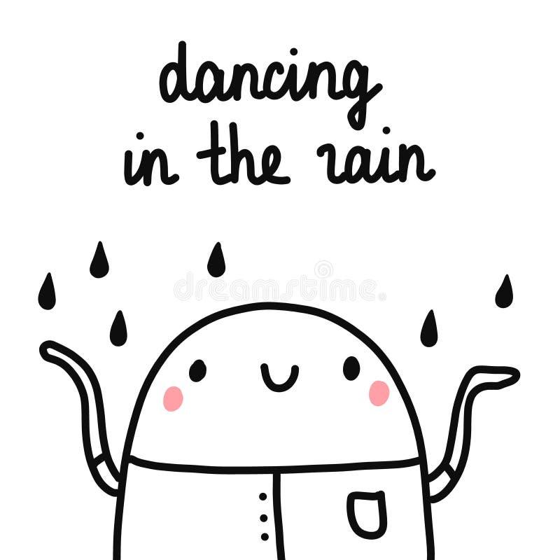 Tanczyć w podeszczowej ślicznej ilustracji z marshmallow otuchą i szczęśliwą kroplą deszcz na jego głowie dla druków plakatów ilustracja wektor