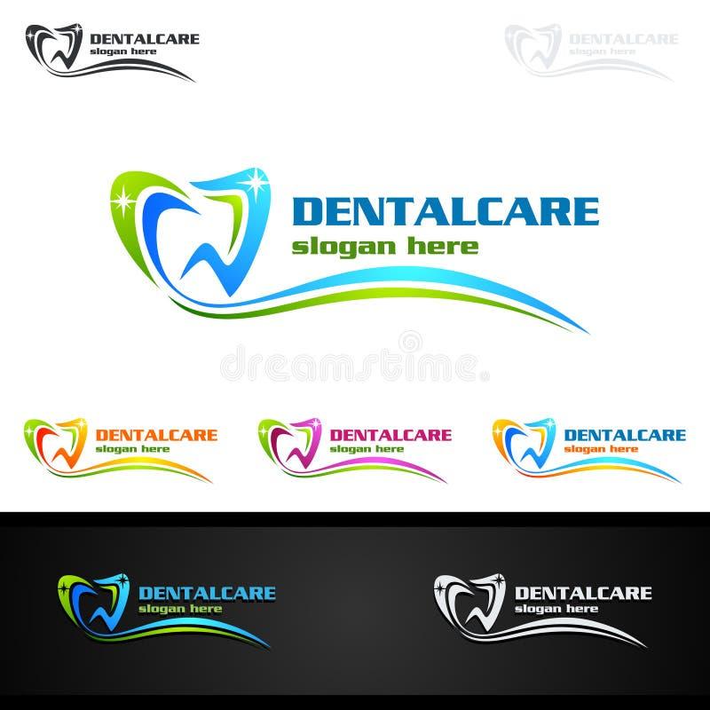 Tand abstract het ontwerp vectormalplaatje van Logo Tooth, het medische ontwerp van de Tandartsstomatologie stock illustratie