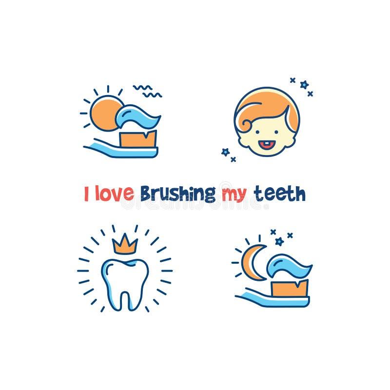 Tand- affisch för barn` s: Jag älskar att borsta mina tänder Tänder som gör ren linjen symboler, sunt mjölktandkort vektor royaltyfri illustrationer