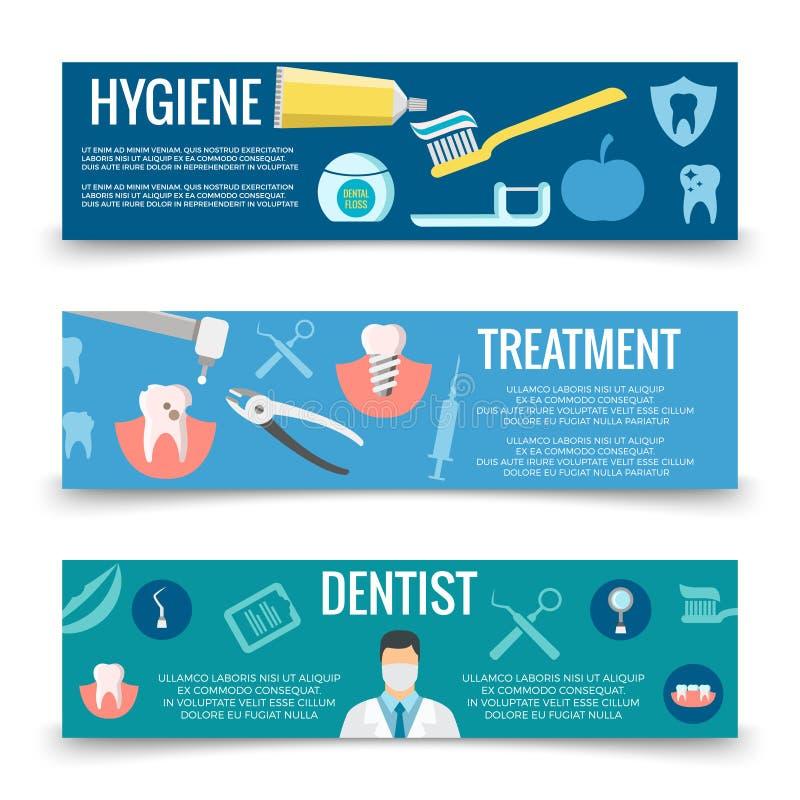 Tand- banermall för tjänste- lägenhet - tänder att bry sig baner stock illustrationer
