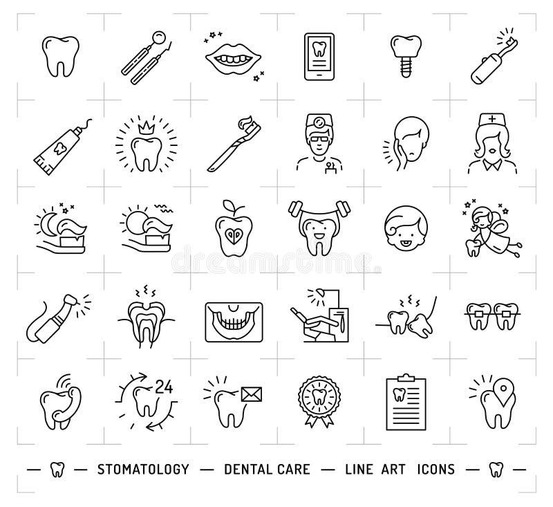 Tand de zorgembleem van het de stomatologiepictogram De kunstpictogrammen van de tandheelkunde dunne lijn stock illustratie