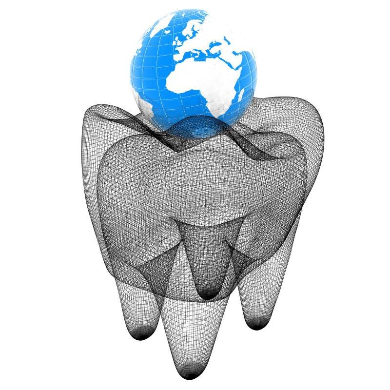 Tand en Aarde Netwerkmodel 3D Illustratie royalty-vrije illustratie