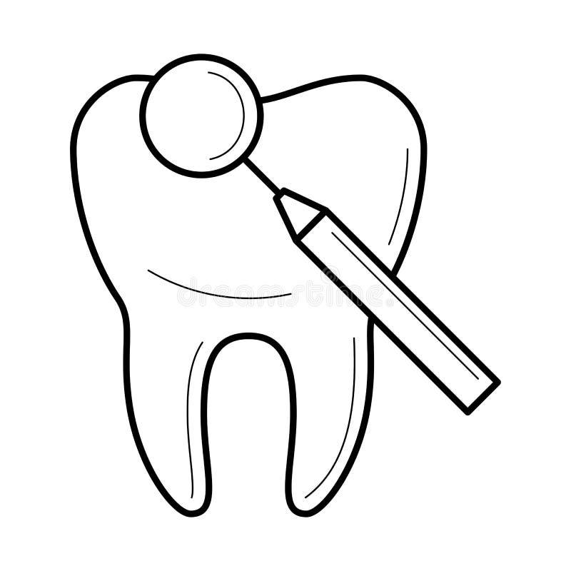 Tand en tandspiegelpictogram, vectorillustratie stock illustratie