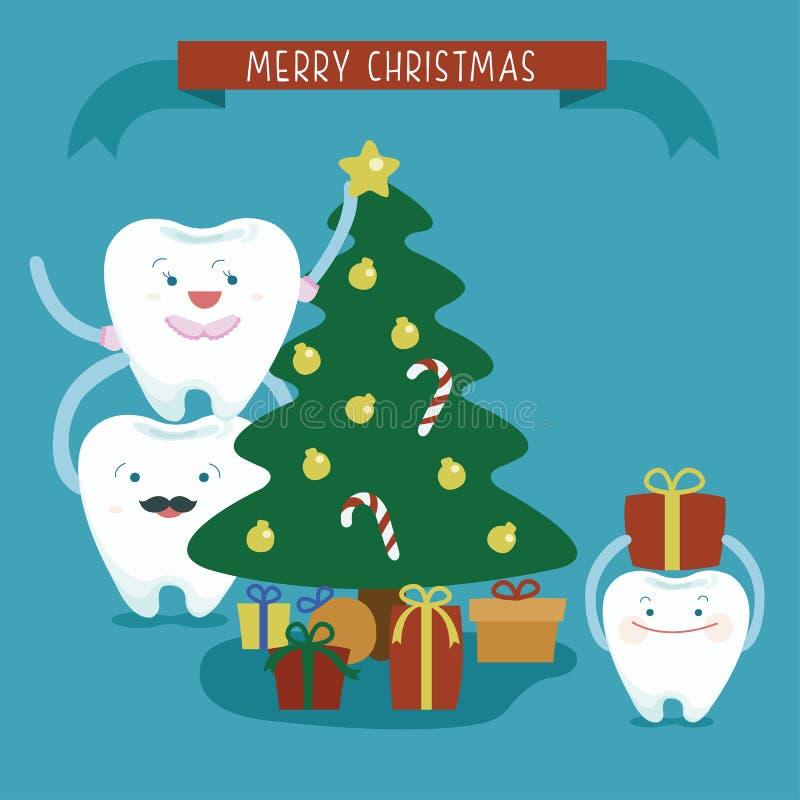 Tand- familj för glad jul royaltyfri illustrationer