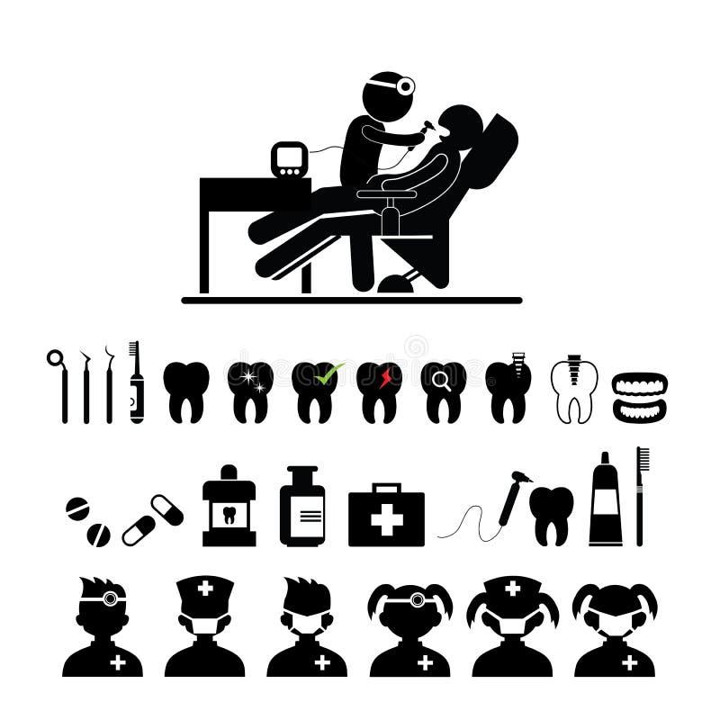 Tand geplaatste pictogrammen stock illustratie