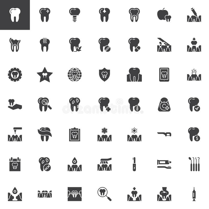 Tand geplaatste zorg vectorpictogrammen royalty-vrije illustratie