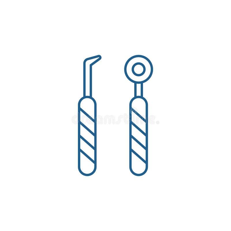 Tand het pictogramconcept van de instrumentenlijn Tandinstrumenten vlak vectorsymbool, teken, overzichtsillustratie royalty-vrije illustratie