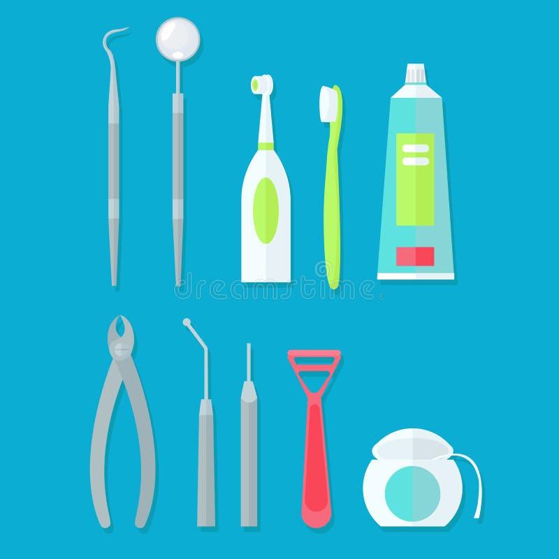 Tand- hjälpmedeluppsättning vektor illustrationer