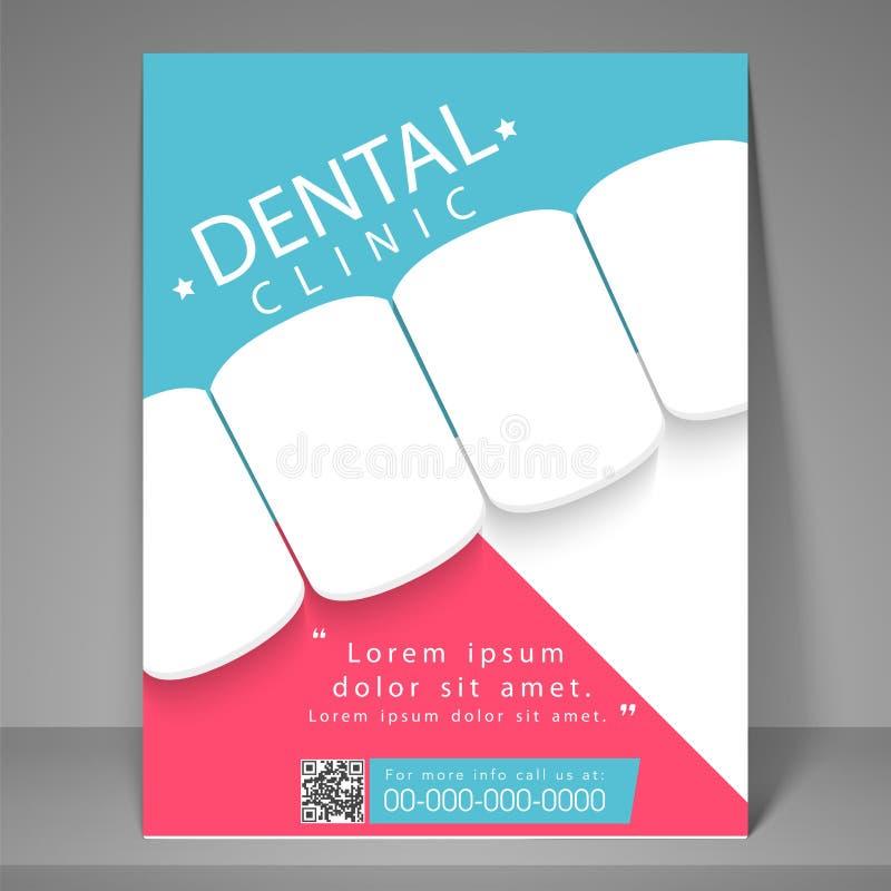 Tand- klinikreklamblad, mall eller broschyr royaltyfri illustrationer