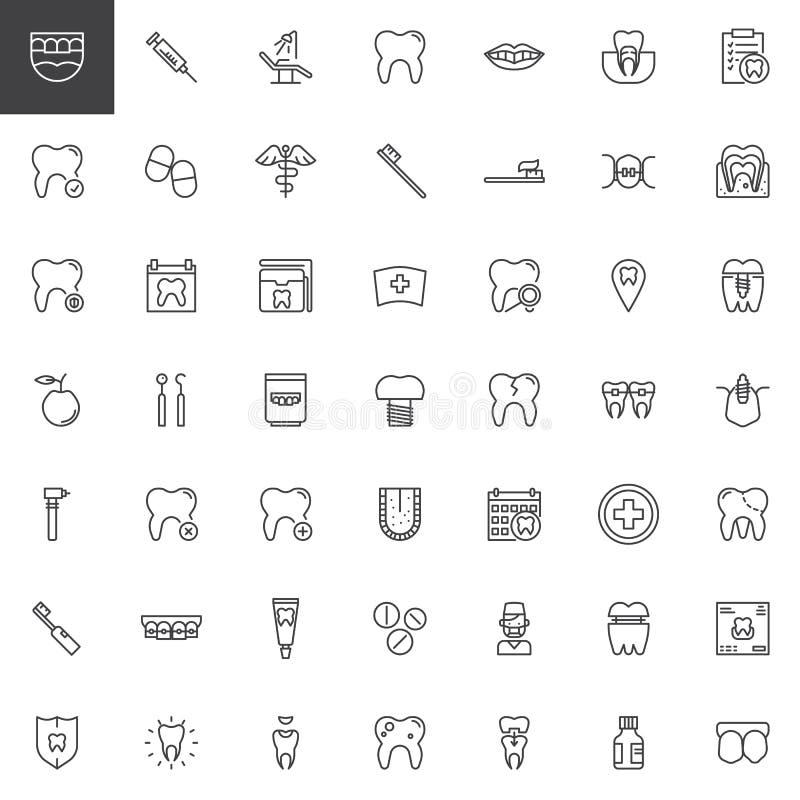 Tand- linje symbolsuppsättning för tandläkare stock illustrationer