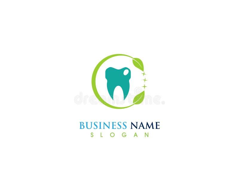 Tand- logo för naturligt grönt blad och vektorbegrepp royaltyfri illustrationer