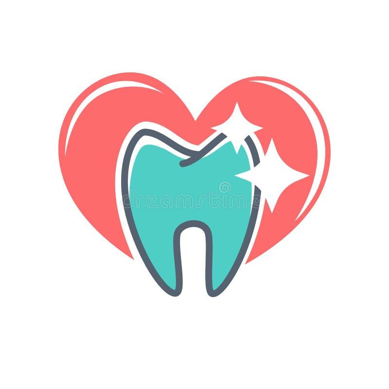 Tand- logo på bakgrund av röd hjärta Tandläkekonstsymbol, tandkräm stock illustrationer