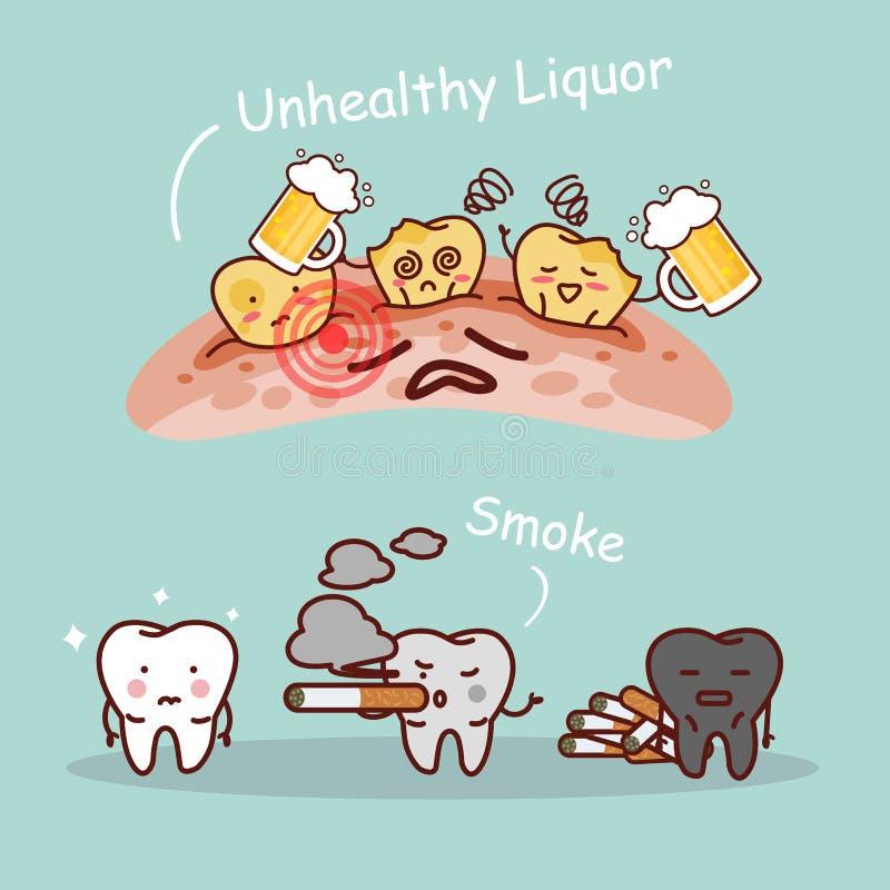 Tand med öl och rök vektor illustrationer