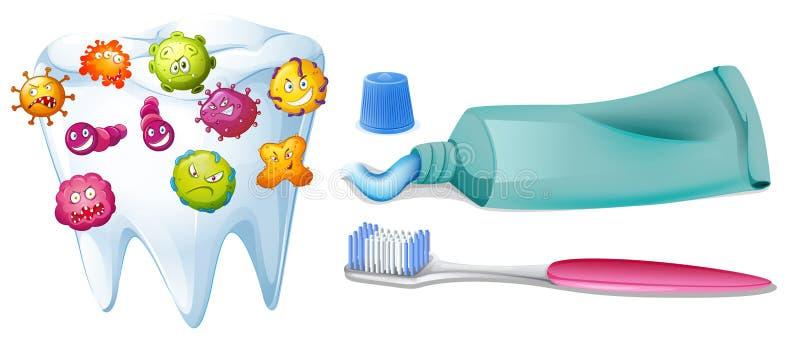 Tand med bakterier och lokalvårduppsättningen royaltyfri illustrationer