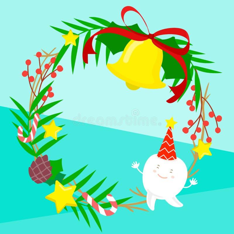 Tand med glad jul vektor illustrationer