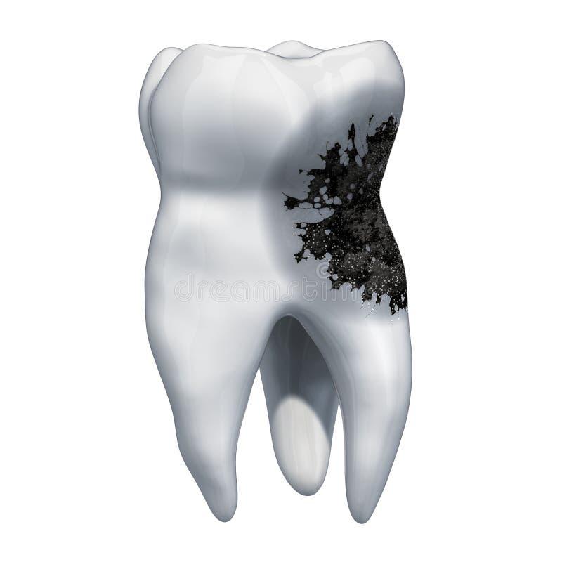 Tand met bederf, tandpijnconcept het 3d teruggeven royalty-vrije illustratie