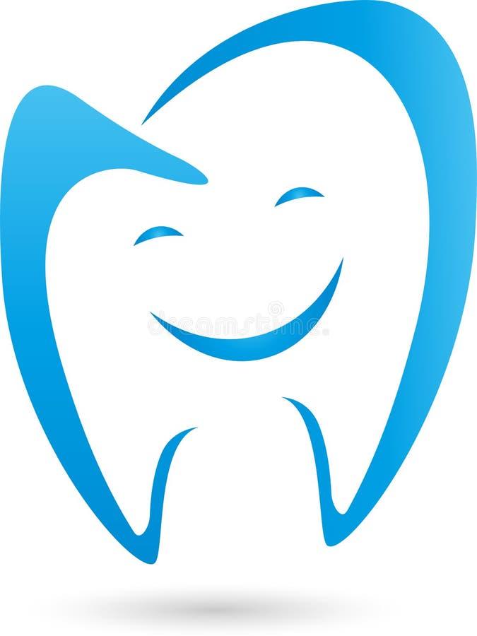 Tand met glimlach, tand en tandartsembleem royalty-vrije illustratie