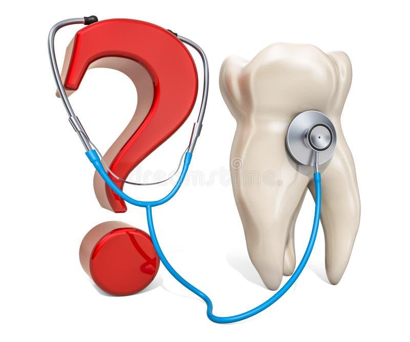 Tand met vraagteken en stethoscoop Kenmerkend en behandelingsconcept, het 3D teruggeven vector illustratie