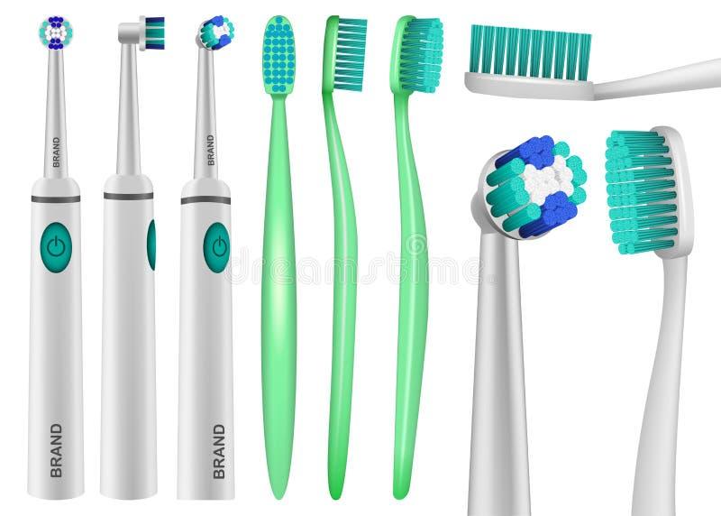 Tand- modelluppsättning för tandborste, realistisk stil royaltyfri illustrationer