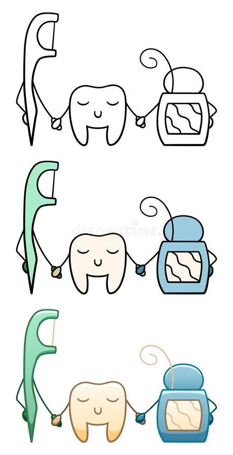 Tand och tandtr?d vektor illustrationer