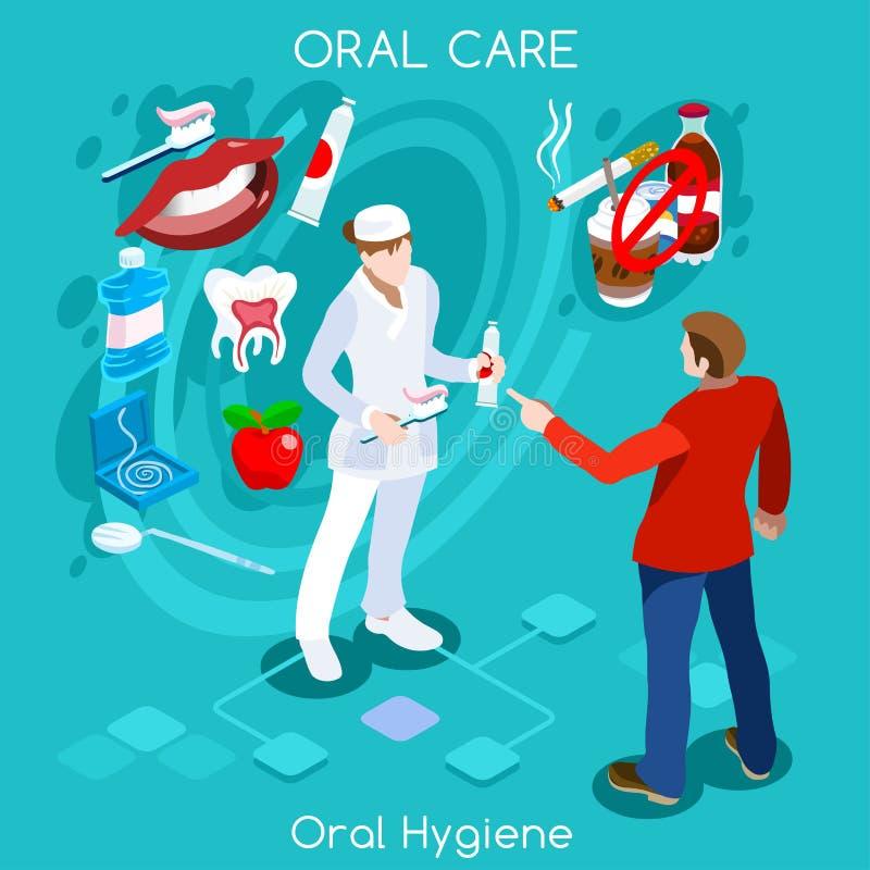 Tand- problembegrepp med tecknad filmteckenet av tandläkarekvinnan stock illustrationer