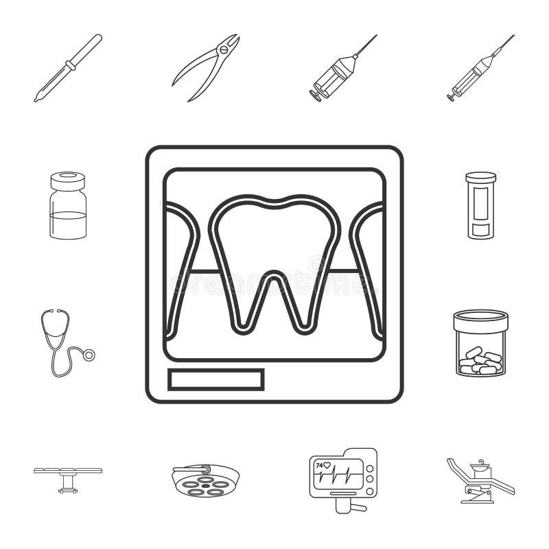 Tand x-ray lijnpictogram Gedetailleerde reeks geneeskundehulpmiddelen Premie grafisch ontwerp Één van de inzamelingspictogrammen  royalty-vrije illustratie