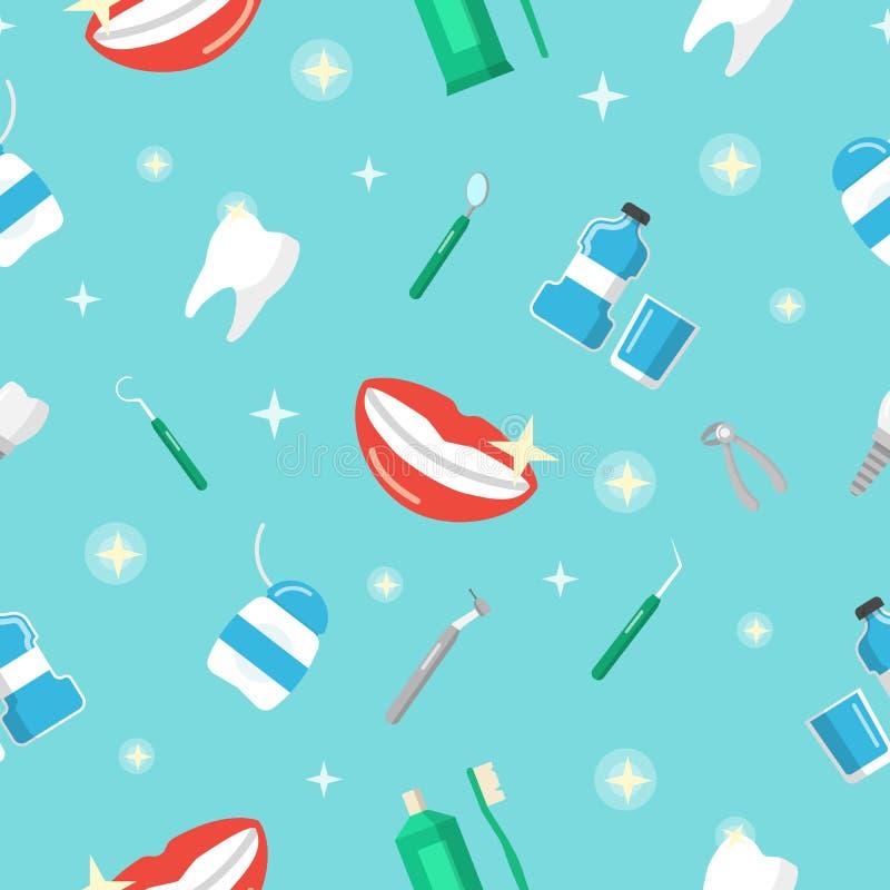 Tand- sömlös modell för sunda tänder med leende och tanden vektor illustrationer