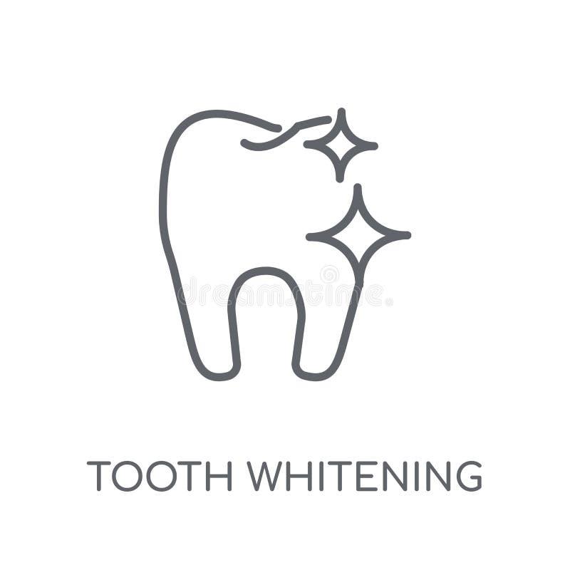 Tand som gör vit den linjära symbolen Modern logo för översiktstandblekmedel royaltyfri illustrationer