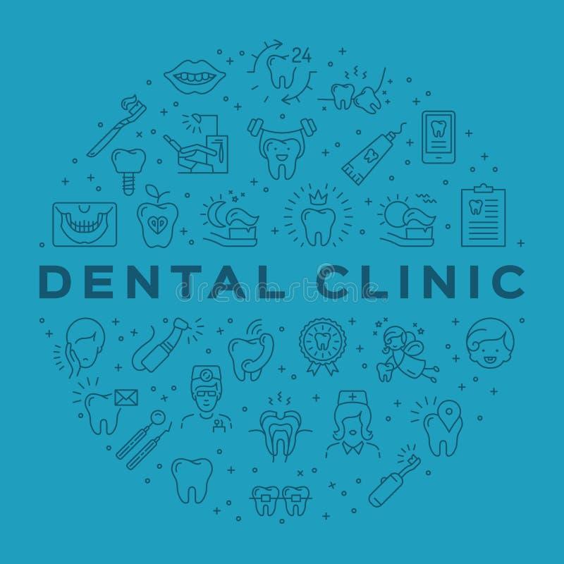 Tand- symboler för översikt för tandvård för Stomatology för klinikcirkelinfographics Illustration för tandläkekonstvektorlägenhe stock illustrationer