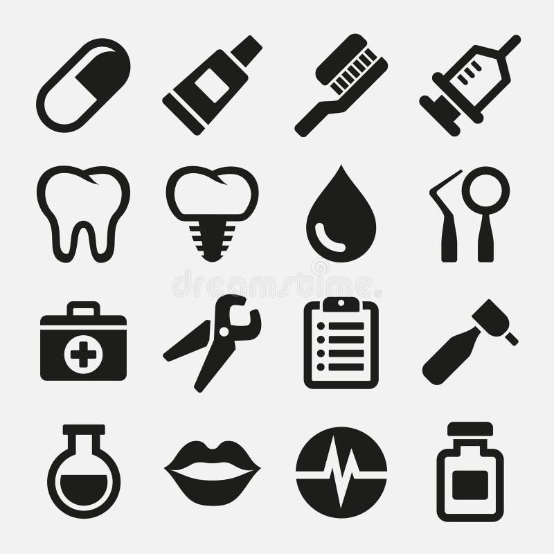 Tand- symbolsuppsättning royaltyfri illustrationer