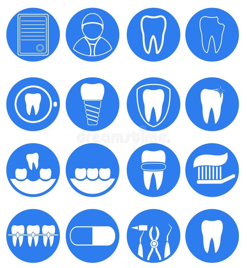 Tand- symbolsuppsättning vektor illustrationer