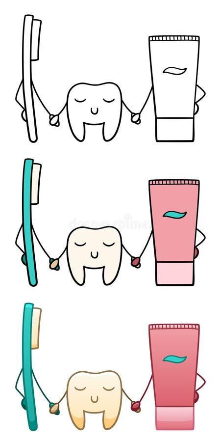 Tand, tandborste och tandkr?m vektor illustrationer