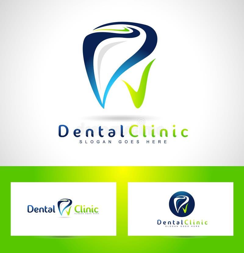 Tand- tandläkare Logo Design royaltyfri illustrationer