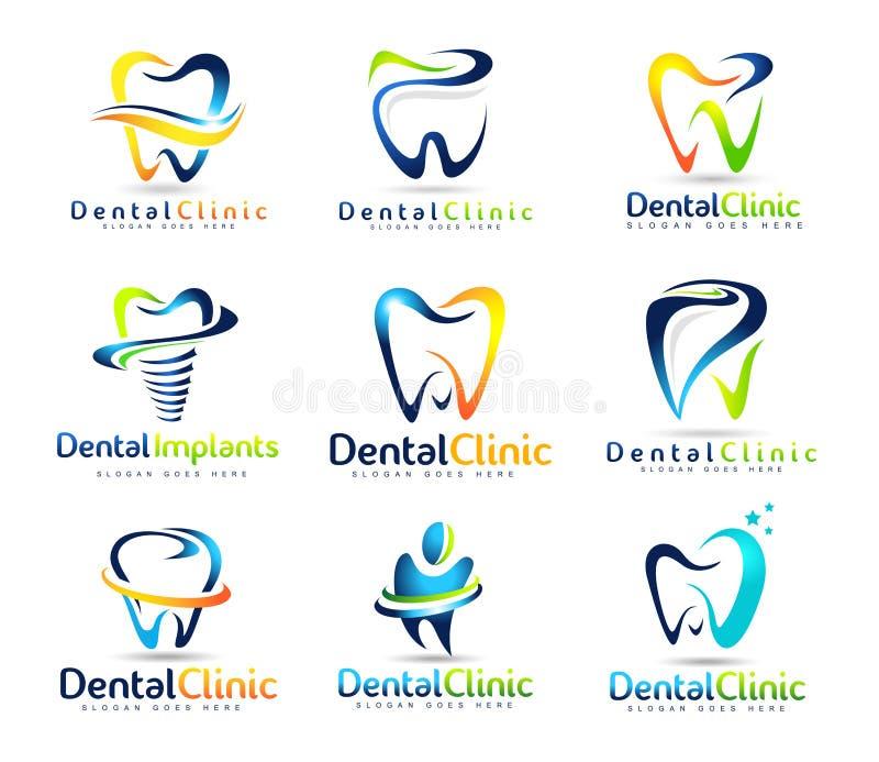 Tand- tandläkare Logo Set royaltyfri illustrationer
