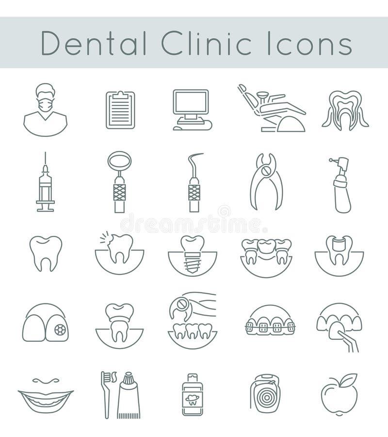 Tand- tunn linje symboler för klinikservicelägenhet stock illustrationer