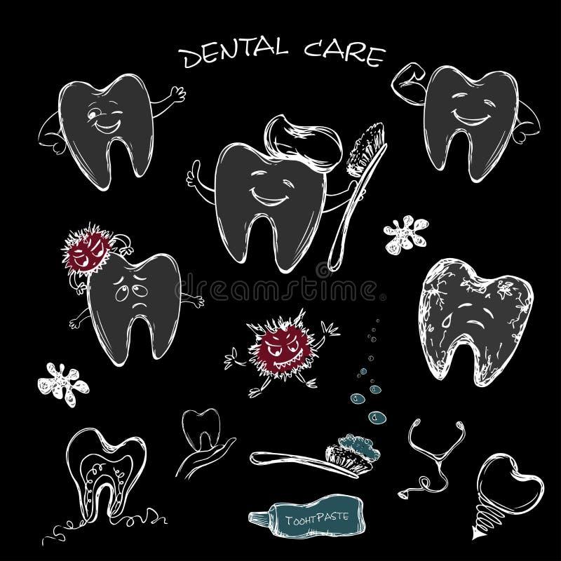 Tand- uppsättning - tand förbi, tandborste och tand- implantat royaltyfri illustrationer