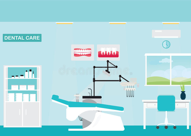 Tand van de zorgkliniek of tandarts bureaubinnenland royalty-vrije illustratie