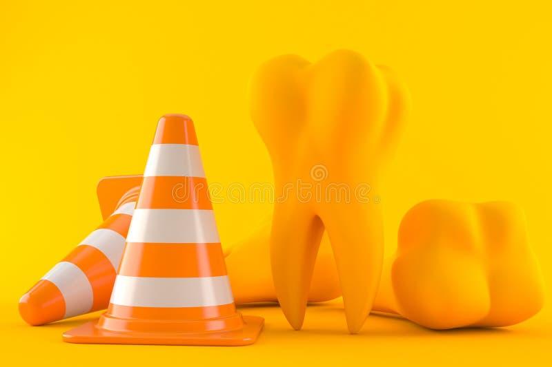 Tandachtergrond met verkeerskegel royalty-vrije illustratie