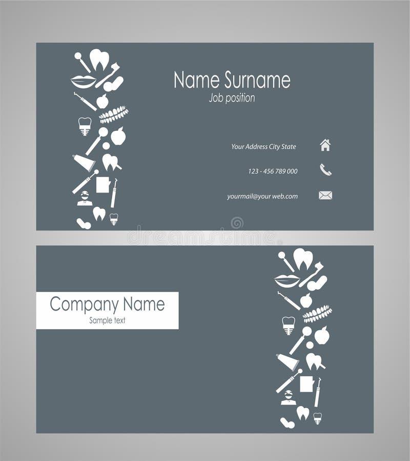 Tandadreskaartje met verschillende stomotologyelementen - vectorillustratie stock illustratie