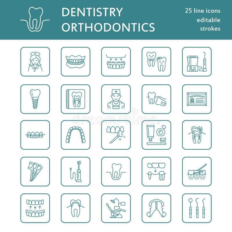 Tandarts, de pictogrammen van de orthodontielijn Tandzorgmateriaal, steunen, tandprothese, vernisjes, zijde, bederfbehandeling en royalty-vrije illustratie