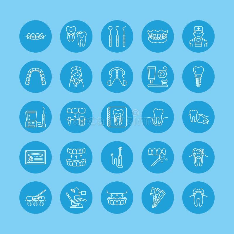 Tandarts, de pictogrammen van de orthodontielijn Tandzorgmateriaal, steunen, tandprothese, vernisjes, zijde, bederfbehandeling en vector illustratie