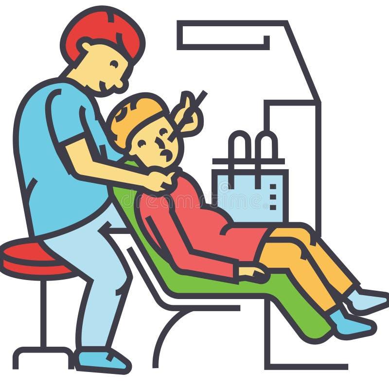 Tandarts die, de stomatologie, tand geduldig concept werken vector illustratie