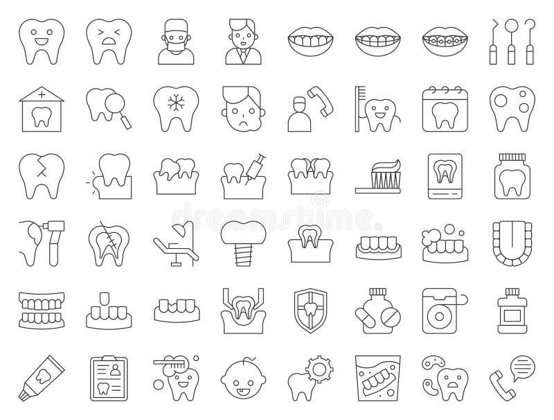 Tandarts en tandkliniek verwant pictogram, dunne lijnstijl stock illustratie