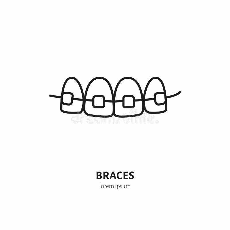 Tandarts, het pictogram van de orthodontielijn van steunen, tandengroepering Het tandteken van het zorgmateriaal, medische elemen vector illustratie