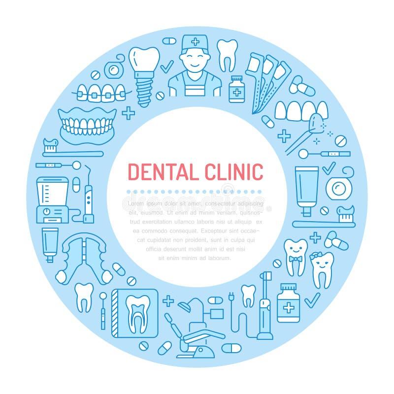 Tandarts, orthodontie medische banner met vectorlijnpictogram van tandzorgmateriaal, steunen, tandprothese, vernisjes stock illustratie