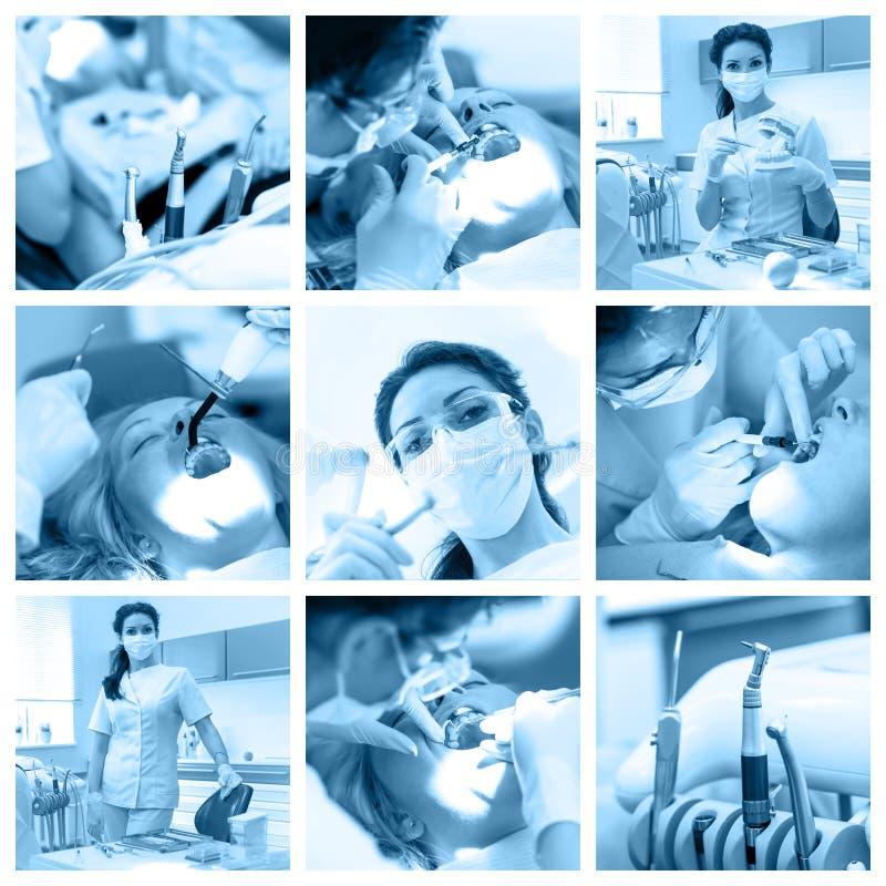 Tandartscollage met verschillende meningen bij kliniek stock foto's