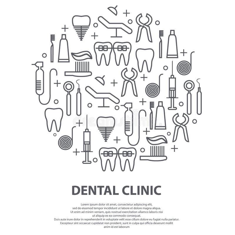 Tandartsconcept in cirkel met dunne lijnpictogrammen van tand, implant, tandzijde, kroon, tandpasta, medische apparatuur royalty-vrije illustratie